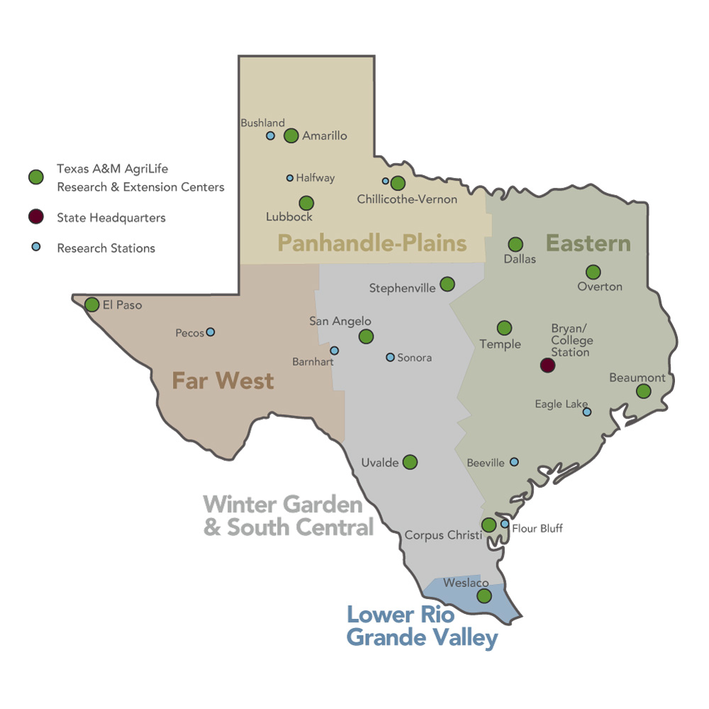 AgriLife Research regional map